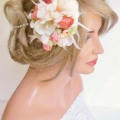 Peach Floral Wedding Headband