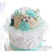 Wedding Brooch Cake Topper Jeweled Topper in Champagne, Ivory Mint and Teal