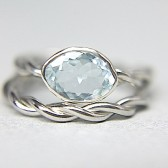 14K Palladium Aquamarine Wedding Set