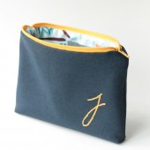 Gold and Navy Monogrammed Cosmetic Bag