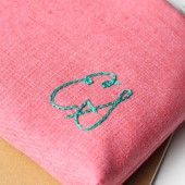 Monogram Cosmetic Bag in Pink and Aqua