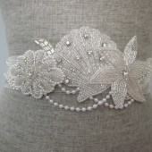 silver beaded beach wedding sash