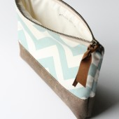 Vintage Blue Chevron Clutch