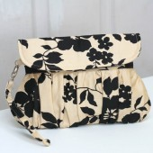 champagne clutch black floral