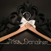Rustic Engraved Wedding Date Bridal Hanger