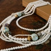 LOng Pearl Layered Bridal Necklace