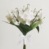 bridal bouquet, silk flowers, origami flowers, bY Mi, textile origami, white wedding, white flowers, daffodils, lily of the valley