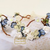 Floral bridal crown, woodland wedding hair piece, FancieStrands, Blue Wedding