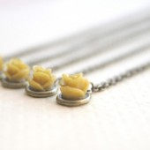 Mustard Yellow Rose Flower Necklaces