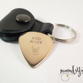 Personalized Bronze Guitar Pick Keychain with Leather Case