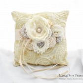 Wedding Ring Pillow with Brooches Crystals Handmade Flowers in Cream and Ivory 1pc