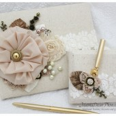 Wedding Lace Guest Book and Pen Holder Set Jeweled Beaded Guest Book Vintage Guestbook Bridal Flower Brooch Guest Books in Ivory, Champagne