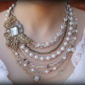 Scarlett bridal pearl and brooch statement necklace