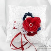 Wedding Ring Pillow with Brooches Crystals Handmade Flowers in White, Red Brick and Navy 1pc