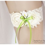 SALE Bridal Garter Wedding Lace Garter with Handmade Flower, Fluffy flower and Calla Lily Boutonniere