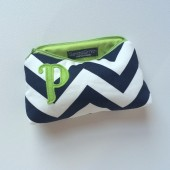 Navy & Chartreuse Monogram Clutch Purse