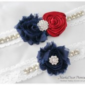 Bridal Garter Set Wedding Lace Garter with Brooches, Crystals, Pearls and Handmade Flowers