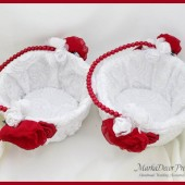 Flower Girl Basket Set of 2 with Brooches Crystals Handmade Flowers in White, Red Brick and Navy