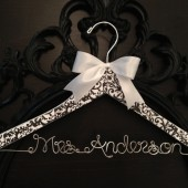 Black & White Damask Bridal Hanger