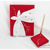 Wedding Guest Book and Pen Set in Red and White with Gorgeous Satin Decorations and Pearls