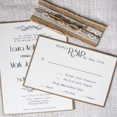 Burlap and Lace Rustic Vintage Wedding Invitation