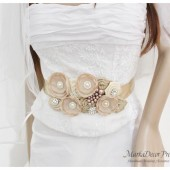 Bridal Sash / Custom Made Belt in Cream Ivory and Tan with Brooches, Glass Beads and Handmade Flowers