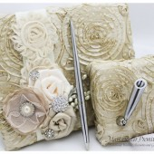 Champagne Signature Book Pen holder Set Wedding Lace Guest Book Birthday Custom Book Bridal Guest Book in Champagne, Ivory and Tan