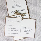 Rustic Heart Twine and Kraft Wedding Invitation