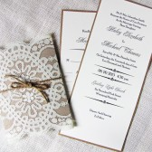 Rustic Country Shabby Chic Lace and Burlap Twine Wedding Invitation
