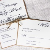 Modern Rustic Burlap Twine and Kraft Wedding Invitatio