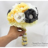 Medium Wedding Brooch Bouquet Bridal Beaded Bouquet Custom Bridesmaids Jeweled Flower Bouquet in Maize Yellow, Grey, Silver and Ivory