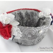 Flower Girl Basket with Brooches Crystals Handmade Flowers in Silver, Red Brick and Navy 1pc
