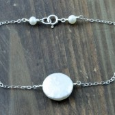 Fresh Water Coin Pearl and Sterling Silver Stacking Bracelet