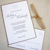 Rustic Burlap Ribbon Wedding Invitation