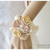 Bridal Bracelet Custom Made Cuff in Cream, Ivory,Tan, Champagne and Gold with Clusters, Handmade Flowers and my Stamens' Accents 1pc