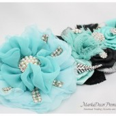 Bridal Prom Sash / Custom Wedding Bridesmaids Belt in Aqua Mint Blue and Black with Brooches, Feathers, Beads