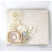 Wedding Lace Guest Book Custom Made in Tan, Champagne and Ivory with Handmade Flowers, Brooches and Stamens' Accents