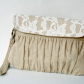 Rustic linen and lace clutch