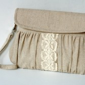 Linen and lace ribbon clutch