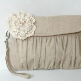 Linen and lace flower clutch