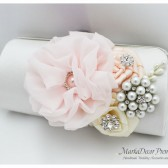 Bridal Wedding Clutch Flower Handmade Brooch Bridesmaids Purse with Handmade Flowers, Crystals, Pearls in White, Ivory, Nude and Light Pink