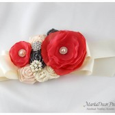 Bridal Sash / Custom Made Belt in Ivory, Coral, Nude and Pewter with Brooches, Glass Beads and Handmade Flowers