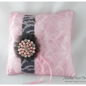 Wedding Ring Pillow with Brooch and a Large Flower in Pink, Charcoal and Dark Grey 1pc