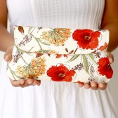 simple wedding clutch honeycrisp red floral in cream