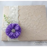Wedding Lace Guest Book Custom Made in Tan, Champagne, Ivory, Lavender and Green with Handmade Flowers, Brooches and Stamens' Accents