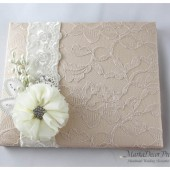 Wedding Lace Guest Book Custom Made in Tan, Champagne, Ivory with Handmade Flowers, Brooches and Stamens' Accents