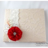 Wedding Lace Guest Book Custom Made in Tan, Champagne, Ivory and Red with Handmade Flowers, Brooches and Stamens' Accents