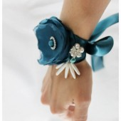Bridal Custom Bracelet Cuff in Peacock with Clusters, Handmade Flowers and Stamens' Accents