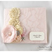 Wedding Lace Custom Guest Book in Blush Pink, Tan and Champagne with Handmade Flowers, Brooches and Stamens' Accents