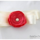 Bridal Bridesmaid Sash / Belt in Ivory and Coral with a Big Handmade Flower and Brooch
